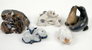 Royal Copenhagen fox with cubs no. 1788, 14cm x h10.5cm, seals no. 2519, h9cm, pigs no. 683, sheep