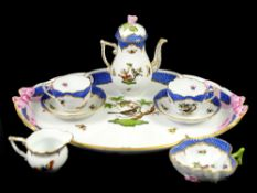 Herend cabaret service, comprising teapot with rose finial decorated with birds and insects,