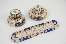 19th century Crown Derby style Imari pattern desk set, including ink well, ink blotter, and pen