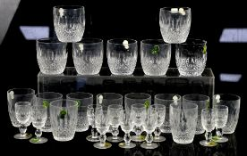 Large suite of Waterford glass to include: water glasses, tumblers, wine glasses, cordial glasses,