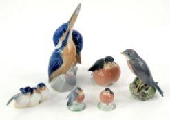 Royal Copenhagen Kingfisher group no.1769, h18cm, and five Royal Copenhagen birds nos. 1516, 2266,
