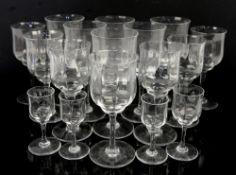 Baccarat Capri glasses, six red wine h17cm, seven white wine h15.5cm, three liqueur h9.5cm, and a