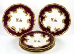 Early 19th Century Chamberlains Worcester set of five armorial cabinet plates, claret ground with