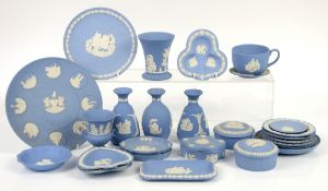 A quantity of Wedgwood blue jasperware to include trinket boxes, vases and dishes