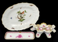Herend porcelain desk stand decorated with puce coloured flowers on a white ground with gilt