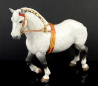 Beswick dappled grey shire horse with red, yellow and black decorated mane and straps, matt