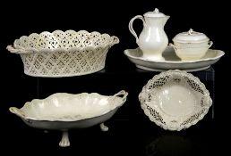 18th century creamware chestnut/fruit basket with pierced decoration and twist handles, 30cm,