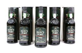 Five bottles of Dow's Port Late Bottled Vintage, 1988 vintage, bottled in 1994. Produced and