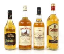 Four bottles of whisky to include 1.14 litre bottle of The Famous Grouse Finest Scottish Whisky, one