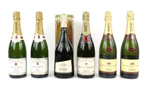 Six bottles of Champagne to include one bottle of Moet & Chandon Epernay Champagne, two bottles of