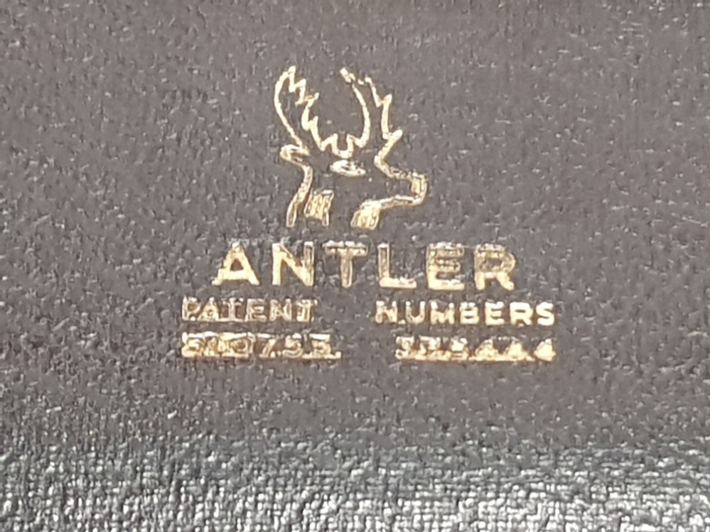 Lot 334 - 2 VINTAGE SUITCASES INC LEATHER PIONEER LUGGAGE AND ANTLER