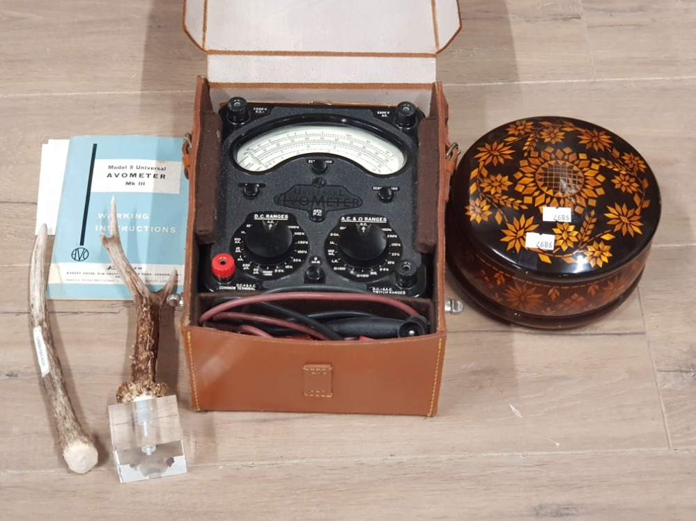 Lot 350 - A UNIVERSAL AVOMETER IN ORIGINAL CASE JAPANESE CERAMICS AND A DOLL PEWTER TANKARDS ETC