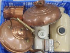 ANTIQUE COPPER KETTLE AND BED WARMER WITH OTHER METAL ITEMS AND ANTIQUE STONE WATER BOTTLES