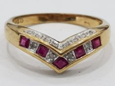 9CT GOLD WISHBONE TYPE RING WITH RUBIES AND DIAMONDS, 2.7G SIZE O