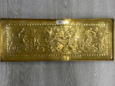 AN ARTS AND CRAFTS RECTANGULAR BRASS TRAY BY KESWICK SCHOOL OF INDUSTRIAL ARTS WITH HERALDIC BEAST
