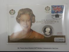 SILVER 2006 5 POUNDS COIN FROM GIBRALTAR, ON QUEENS 80TH FIRST DAY COVERS