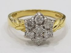 18CT YELLOW GOLD DIAMOND CLUSTER RING, 3.9G SIZE O1/2