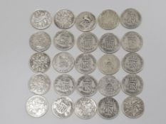 A TOTAL OF 25 SILVER .500 SIX PENCES DATED BETWEEN 1920-46