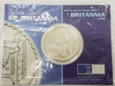 2001 SILVER 2 POUND BRITANNIA COIN, ONE OUNCE WEIGHT IN ROYAL MINT SEALED PACK