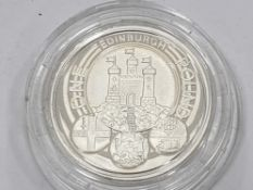 UK ROYAL MINT 2011 ONE POUND EDINBURGH CASTLE SILVER PROOF COIN IN CASE OF ISSUE WITH CERTIFICATE OF