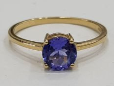 9CT GOLD SOLITAIRE RING WITH 1 CARAT TANZANITE, 1.5G SIZE P1/2