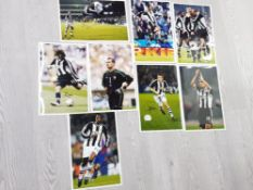 8 DIFFERENT SIGNED NEWCASTLE UNITED 8X12 INCH PHOTOGRAPHS OF GARY SPEED, SHAY GIVEN, LUA LUA,