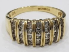 9CT YELLOW GOLD DIAMOND CLUSTER BAND RING, 3.9G SIZE O1/2