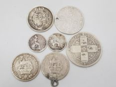 7 PURE SILVER COINS DATED PRE 1860 INCLUDES 1840 AND 1843 FOURPENCE, SHILLINGS 1711 1819, 1926 X 2