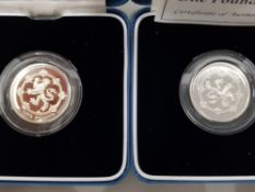 A 1999 AND 1994 UK SILVER PROOF .925 1 POUND COINS IN ORIGINAL PACKING AND CASE MINTAGE 25,000 C.O.A