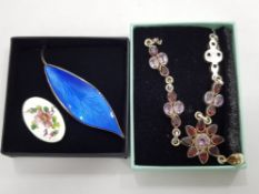 2 VINTAGE BROOCHES BOTH BY DAVID ANDERSON, NORWAY, STERLING SILVER AND ENAMEL TOGETHER WITH SILVER