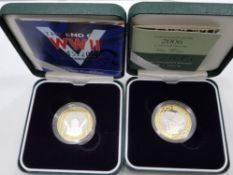 2005 AND 2006 SILVER PROOF 2 POUNDS COINS INCLUDES END OF WWII AND BRUNEL BOTH IN ORIGINAL CASES