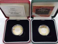 2 SILVER PROOF 2 POUND COINS INCLUDES 2005 400TH ANNIVERSARY OF THE GUNPOWDER PLOT AND ONE OTHER