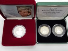 2007 ALDERNEY SILVER PROOF DIANA 5 POUNDS CROWN MINTAGE 10,000 TOGETHER WITH 1997 UK SILVER PROOF
