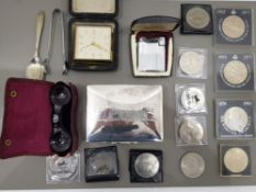 VARIOUS ITEMS INCLUDING COINS, RONSON LIGHTER WITH CASE, KERSHAW WIDE ANGLE BINOCULAR (MIRLO)