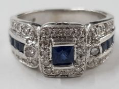 14CT WHITE GOLD DIAMOND AND SAPPHIRE CLUSTER RING DIAMOND SAPPHIRE SIDES, 5.6G SIZE K