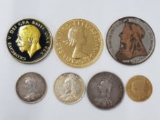 FIVE ENAMELLED SILVER COINAGE VICTORIAN AND LATER