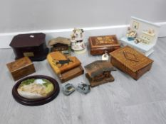 LARGE QUANTITY OF MUSICAL BOXES INCLUDES INLAID WOODEN SORRENTO AND SPANISH PIANO BOX ETC