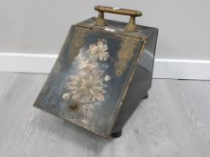 VINTAGE METAL AND BRASS COAL SCUTTLE, WITH FLORAL PATTERNED INLAY