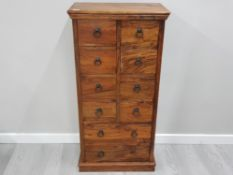 MEXICAN PINE 10 DRAWER NARROW CHEST, SOME DRAWERS NEED ATTENTION