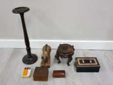BOX OF MIXED WOODEN ITEMS AND A TIN BOX