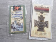ROYAL MINT 50P SEALED PACKS VICTORIA CROSS MINT 2006 AND D DAY LANDING MINT 1994