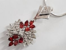 18CT WHITE GOLD DIAMOND AND FIRE OPAL CLUSTER PENDANT, 14.2G