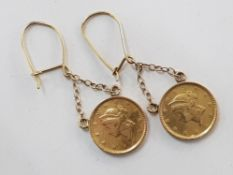 YELLOW GOLD DOLLAR DROP EARRINGS, 3.5G