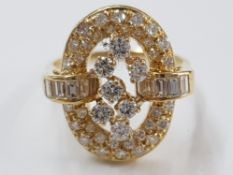18CT YELLOW GOLD DIAMOND CLUSTER RING, SIZE M1/2, 5.6G GROSS