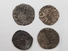 FOUR HUNGARIAN SILVER COINS SIGISMUND OF LUXEMBOURG DATING BETWEEN 1387 AND 1437