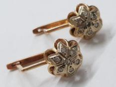 14CT YELLOW GOLD FLOWER DIAMOND SET DROP EARRINGS, 4.9G