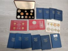 VARIOUS MIXED COIN SETS ALL IN FOLDERS AND CASES UNC