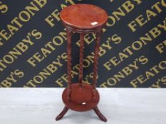 MAHOGANY PLANT STAND WITH SPIRAL TWIST
