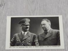 WORLD WAR 2 GERMANY - SUDETENLAND 1938 ORIGINAL PROPAGANDA CARD SHOWING HITLER AND KONRAD HENLEN (