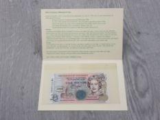 BANKNOTE GUERNSEY 2000 MILLENIUM COMMEMORATIVE £5 UNC IN FOLDER